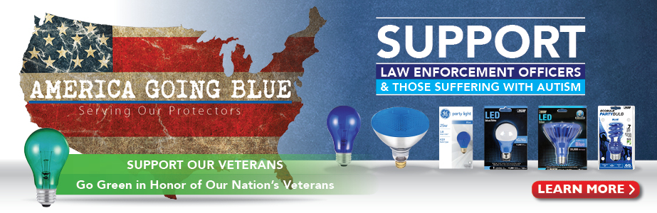 Show Your Support - Blue and Green Light Bulbs